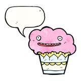 Cartoon cupcake with speech bubble Stock Photo
