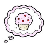 Cartoon cupcake in thought bubble symbol Stock Photos