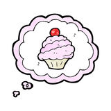 Cartoon cupcake in thought bubble symbol Royalty Free Stock Image