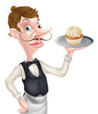 Cartoon Cupcake Waiter Stock Photography