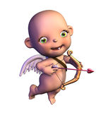 Cartoon Cupid. 3D render of a cartoon Cupid with his bow and heart-shaped arrow Stock Photo
