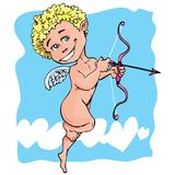 Cartoon cupid with bow and wings. Blue sky behind stock illustration