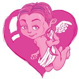 Cartoon cupid with bow and wings Stock Photos