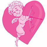 Cartoon cupid with bow and wings Royalty Free Stock Photos