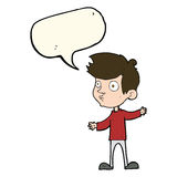 Cartoon curious boy with speech bubble Royalty Free Stock Photos