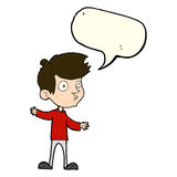 Cartoon curious boy with speech bubble Royalty Free Stock Image