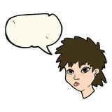 Cartoon curious girl with speech bubble Royalty Free Stock Photo