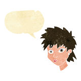Cartoon curious girl with speech bubble Royalty Free Stock Image