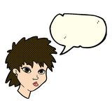 Cartoon curious girl with speech bubble Royalty Free Stock Photography