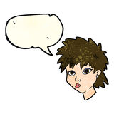 Cartoon curious girl with speech bubble Stock Image