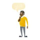 Cartoon curious man with speech bubble Stock Image