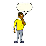Cartoon curious man with speech bubble Royalty Free Stock Image