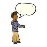 Cartoon curious man with speech bubble Stock Photography