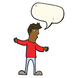 Cartoon curious man with speech bubble Royalty Free Stock Photos