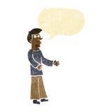 Cartoon curious man with speech bubble Stock Photo