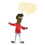 Cartoon curious man with speech bubble Stock Photos