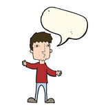 Cartoon curious man with speech bubble Stock Images