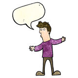 Cartoon curious man with speech bubble Royalty Free Stock Images