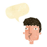 Cartoon curious man with speech bubble Royalty Free Stock Photography