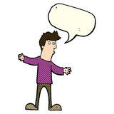 Cartoon curious man with speech bubble Stock Photo