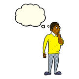 Cartoon curious man with thought bubble Royalty Free Stock Image