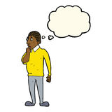 Cartoon curious man with thought bubble Stock Images