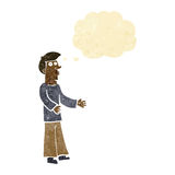 Cartoon curious man with thought bubble Stock Photography