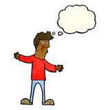 Cartoon curious man with thought bubble Royalty Free Stock Images