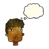 Cartoon curious man with thought bubble Stock Photos