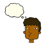 Cartoon curious man with thought bubble Stock Photo