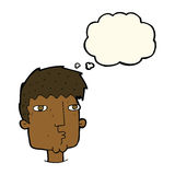 Cartoon curious man with thought bubble Royalty Free Stock Photo