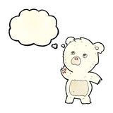 Cartoon curious polar bear with thought bubble Royalty Free Stock Photography