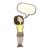 Cartoon curious woman with speech bubble Stock Photo