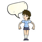 Cartoon curious woman with speech bubble Stock Photography