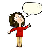 Cartoon curious woman with speech bubble Stock Images