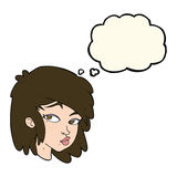 Cartoon curious woman with thought bubble Royalty Free Stock Images
