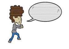 Cartoon curly hair men with speech bubble texturized Stock Photo