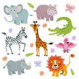 Cartoon cute african savanna animals vector set. Wild animal parrot and hippopotamus, illustration of alligator and giraffe cartoon animal Royalty Free Stock Photo