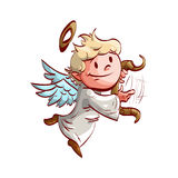 Cartoon cute angel, playing lyre Stock Photography