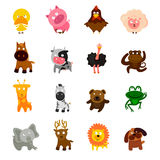 Cartoon cute animal set Stock Photos