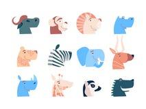 Cartoon cute animals for baby card and invitation. Vector illustration. Lion, lion, elephant, leopard, antelope, buffalo, giraffe royalty free illustration