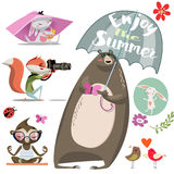Cartoon cute animals Royalty Free Stock Images