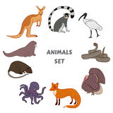 Cartoon cute Animals vector set. Isolated vector illustration hand-drawn style. Sticker, card, print, postcard, poster, background Stock Photography