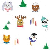 Cartoon cute animals in winter clothes. Vector seamless color Christmas pattern. Cartoon cute animals in winter clothes, ski, tree. Vector seamless color royalty free illustration