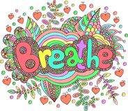 Cartoon cute art with mandala and breathe word. Doodle lettering. Artwork. Vector illustration Royalty Free Stock Photo