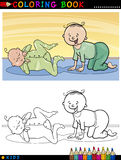 Cartoon cute babies for coloring Stock Images