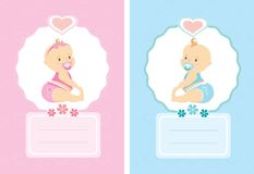 Cartoon cute baby cards, background template. Vector illustration royalty free illustration