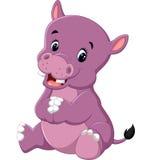 Cartoon cute baby hippo Royalty Free Stock Photos