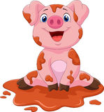 Cartoon cute baby pig Stock Photo