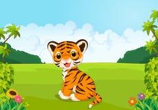 Cartoon cute baby tiger Stock Photo